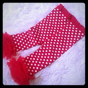 Other - Winter tights 12-18m red white and ruffles!